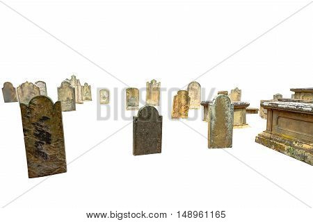 cemetery ancient tombs isolated on white background with copyspace