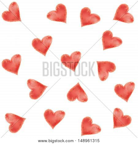Valentine vector vintage background for greeting cards. Watercolor hearts.