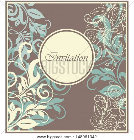 Invitation vintage floral card. Background. Vector illustration