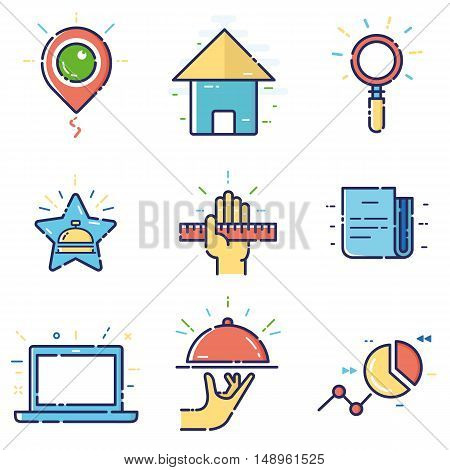 Vector modern stylish flat linear icons set of basic office marketing items business management social media for web and app design and development - part 7