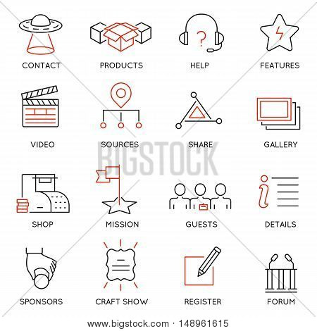 Vector set of 16 icons related to business management marketing maintain and service. Mono line pictograms and infographics design elements for app and web design navigation - part 2