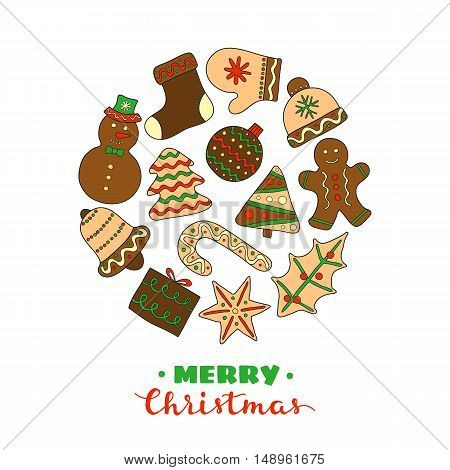 Hand drawn Christmas cookies with icing composed in circle shape on white background.