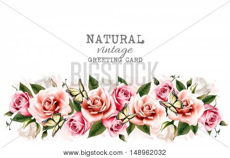 Holiday background with beautiful flowers and butterflies. Vector.