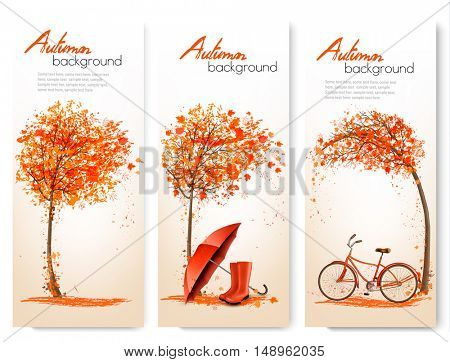 Autumn nature banners with colorful tree and a bicycle and umbrella. Vector
