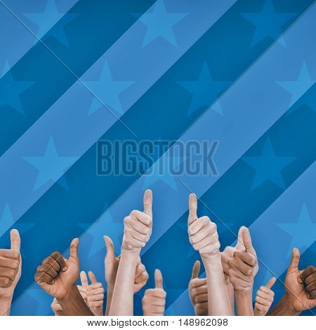 Digital image of people doing thumbs up behind american flag