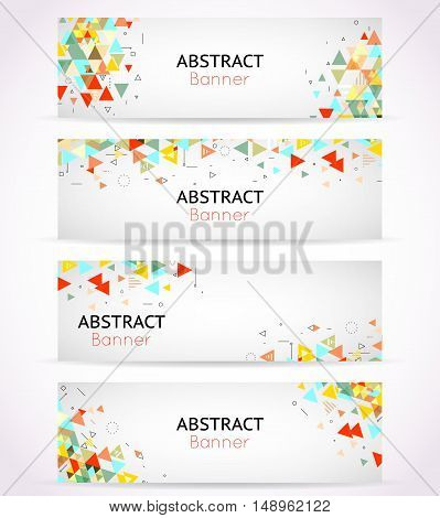 Vector triangle polygonal banners or abstract headers. Template triangle banner set, geometry element card illustration
