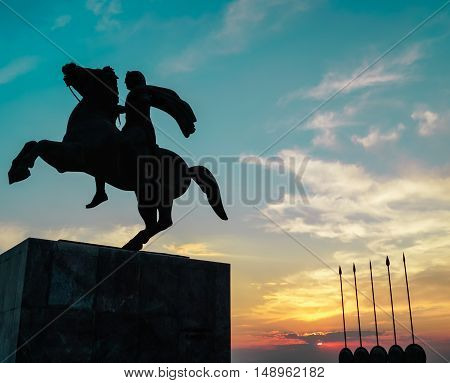 Alexander the Great Monument in Thessaloniki's seafront, next to the White Tower .