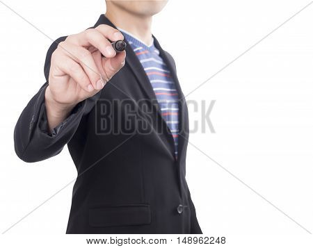 Businessman in black suit hold black maker to write something on isolated / white background