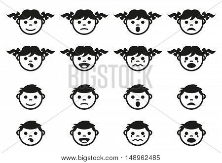 Kid, child and baby faces avatars and symbols set. Kid baby avatar face, boy girl character. Vector illustration