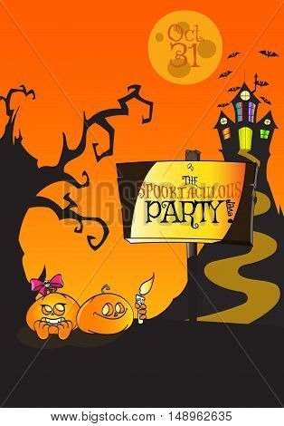 Hand Drawn Halloween 'The Spooktaculous Party ever' Poster Concept. Use it like posters, flyers, promos, cards, banners, invitations, placards, pamphlets - rasterized copy