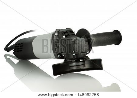 new gray angle grinder on white background