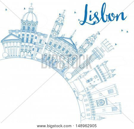 Outline Lisbon Skyline with Blue Buildings and Copy Space. Vector Illustration. Business Travel and Tourism Concept with Historic Buildings. Image for Presentation Banner Placard and Web Site.
