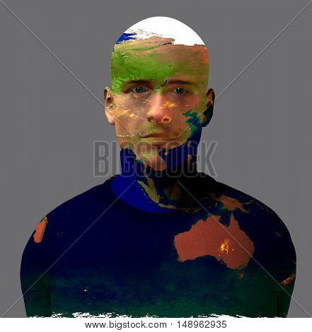 Australia superimposed on mans face  3D Render