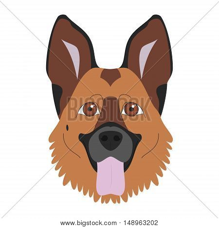 German Shepherd Dog Isolated On White Background Vector Illustration