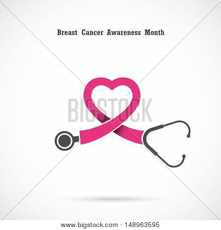 Breast cancer awareness logo design.Breast cancer awareness month icon.Realistic pink ribbon.Pink care logo.Vector illustration
