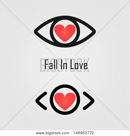 Fall in love logo design.The best vision idea concept.Human eye icon and heart icon vector design.