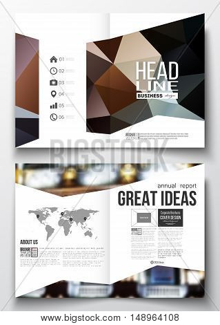 Set of business templates for brochure, magazine, flyer, booklet or annual report. Colorful polygonal background, blurred image, night city landscape, modern triangular vector texture.