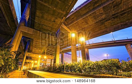 Night landscape , park under highway, Industrial ring, bridge in hong kong city