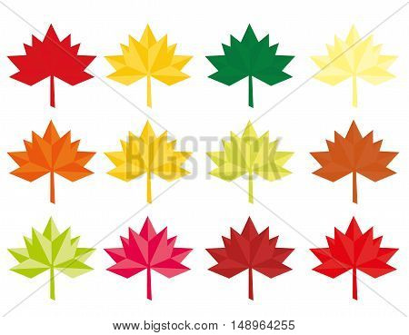 Set of twelve Abstract Vector Leaves Abstract colored maple leaves Maple Leaf Flat style Design Origami or Low Polygon vector illustration