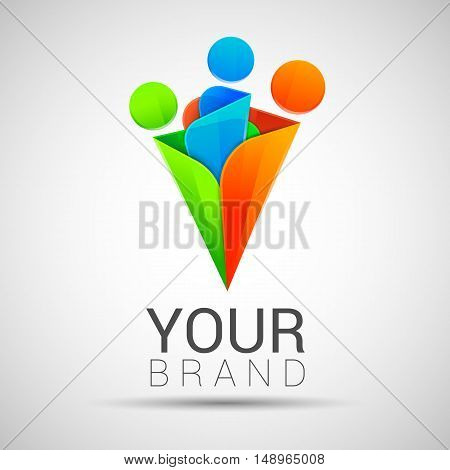 Creative colorful abstract people shapes vector logo Family template Editable for your business company. Symbols innovative and inspiration green orange blue color.
