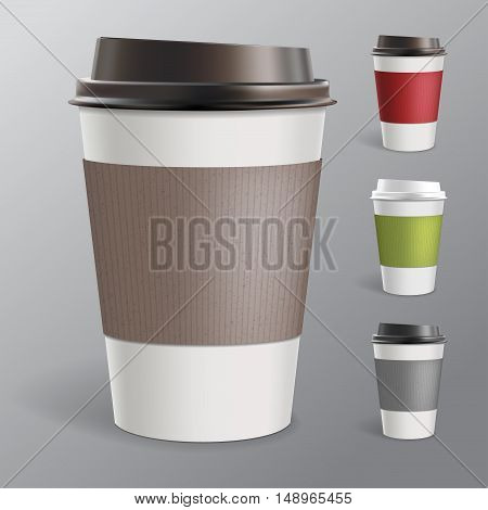 Collection of four disposable paper cups for coffee and tea in different colors