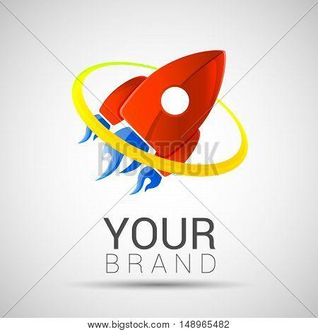 Spaceship flight logo 2d vector leadership concept red color eps 10