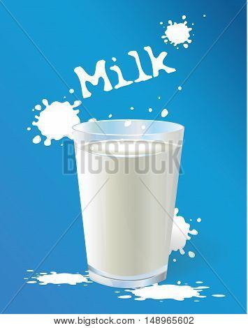 Milk. A glass of milk. Vector illustration Splash of milk
