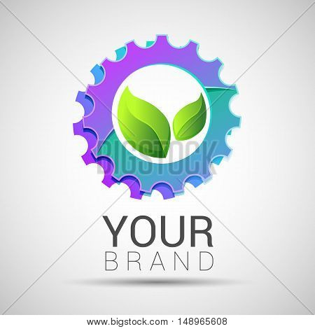 Green leaf with two gears cogs. Vector logo design template. Abstract concept for ecology theme green eco energy technology and industry.