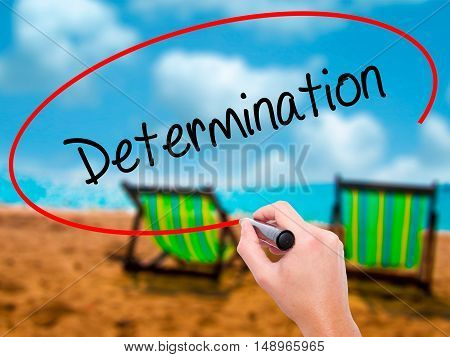 Man Hand Writing Determination  With Black Marker On Visual Screen