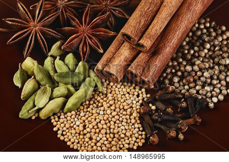 spices cinnamon sticks stars anise cardamom clove coriander and mustard seeds on a brown background close-up horizontal