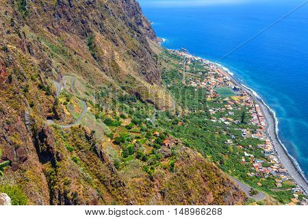 Breathtaking View From The Cliff On Madalena Do Mar , Madeira, Portugal