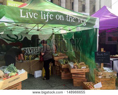 NOTTINGHAM ENGLAND - SEPTEMBER 24: Fresh vegetables market stall called ' Live life on the veg' in Market Square Nottingham City Centre. In Nottingham England. On 24th September 2016.