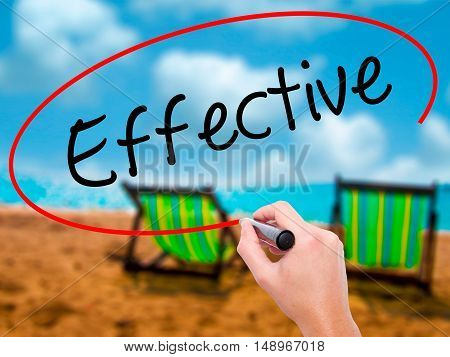 Man Hand Writing Effective With Black Marker On Visual Screen.