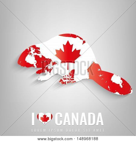National Canada symbol Beaver with an official flag and map silhouette. North America. Vector illustration