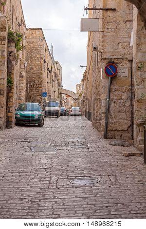 Street Of Muslim Quarter Ear Herod's Gatel, Jerusalem
