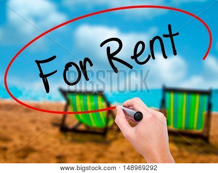 Man Hand Writing For Rent With Black Marker On Visual Screen