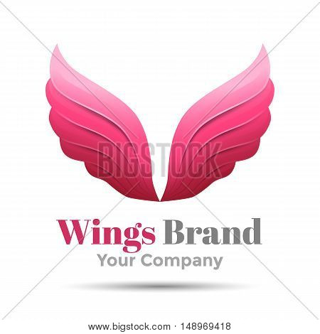 Pink simple wing logotype vector logo icon. Design illustration. Template for your business company. Creative abstract colorful concept.