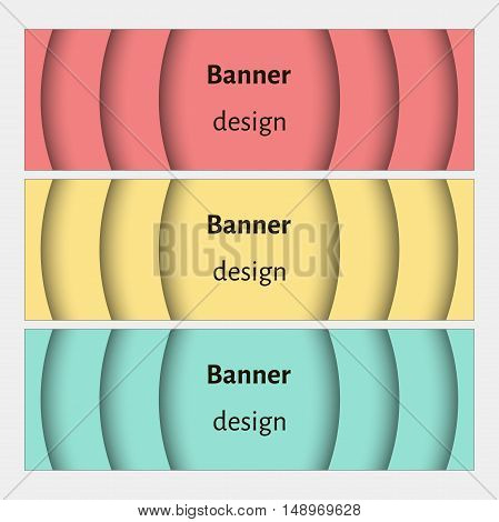 Banner design template. Abstract web banners set with curve elements and shadows. Red, yellow, green. Modern design. Vector illustration.