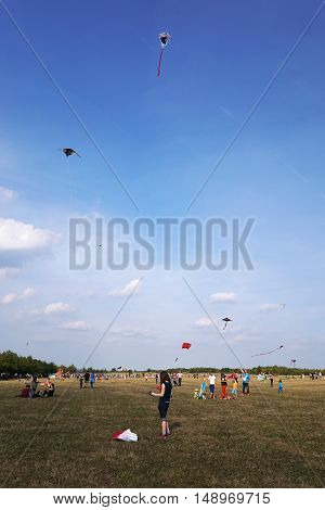 Hannover, Germany - September 24, 2016: The anual free kite flying festival is a popular family event.