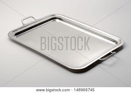 Empty Classic and elegant rectangular tray metal