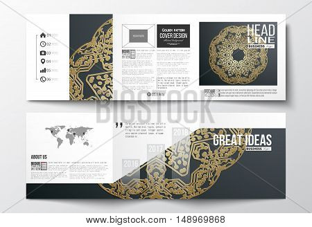 Set of tri-fold brochures, square design templates with element of world map. Golden microchip pattern on dark background, mandala template with connecting dots and lines, connection structure. Digital scientific vector