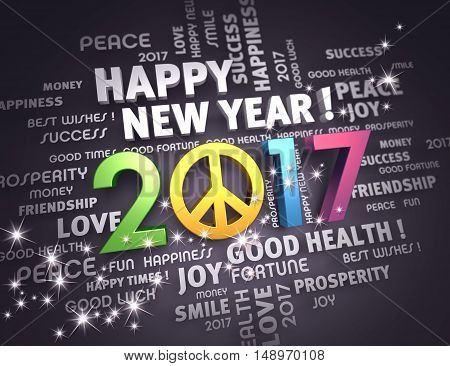 Greeting words around a colorful and positive 2017 year type on a festive black background - 3D illustration