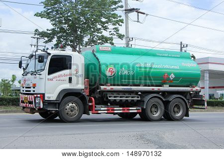 CHIANG MAI, THAILAND - JUNE 11 2015:   Oil Truck of PTG Energy Oil transport Company. On Truck on road no.1001, 8 km from Chiangmai city.