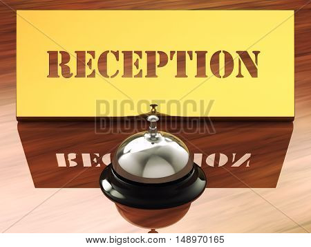 Chrome service bell and brass reception plate , Hotel reception , 3d illustration