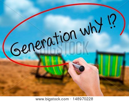 Man Hand Writing Generation Why !? With Black Marker On Visual Screen