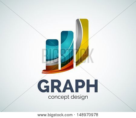 Graph logo template, abstract elegant glossy business icon