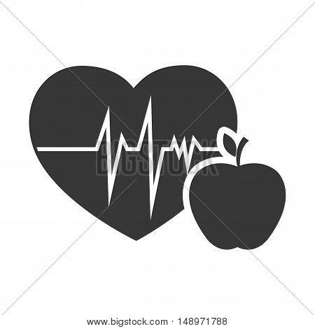 cardio pulse heart with apple fruit food. vector illustration