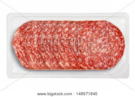 Top View of Tray Packaged of Presliced Salame