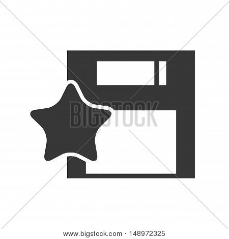 data diskette retro device with star shape  icon silhouette. vector illustration