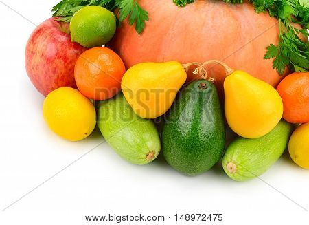 Fruits vegetables and herbs isolated on white background.